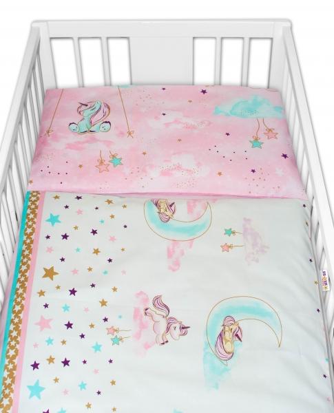 2-dielne bavlnené obliečky Baby Nellys Jednorožec - ružové, 135x100 cm