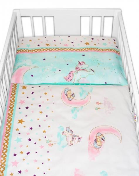 2-dielne bavlnené obliečky Baby Nellys Jednorožec - mätové, 135x100 cm
