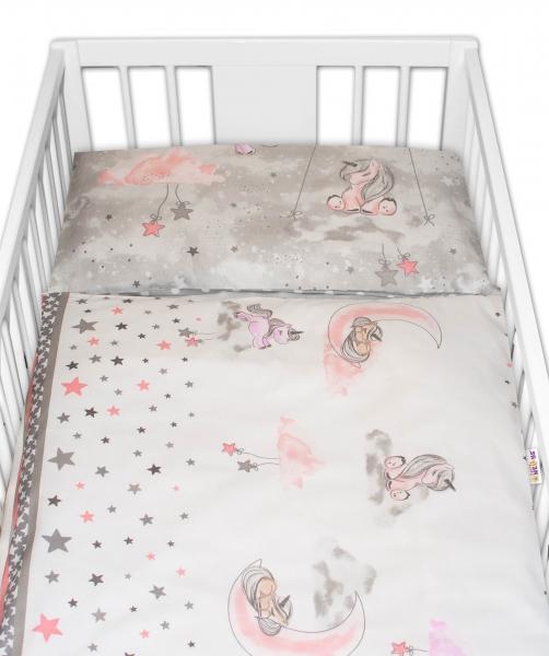 2-dielne bavlnené obliečky Baby Nellys Jednorožec - sivé, 135 x 100 cm