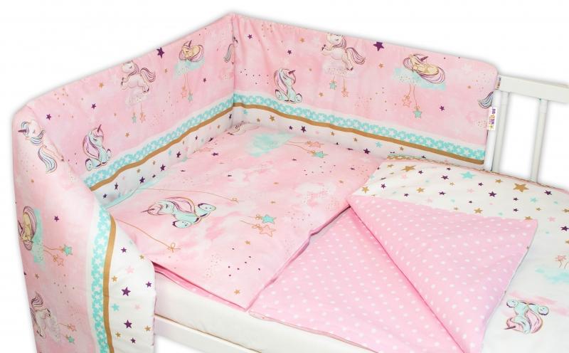 Baby Nellys 3-dielna sada - mantinel s obliečkami Jednorožec - ružová, 135x100 cm