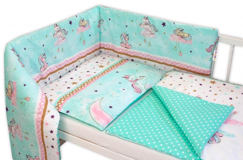 Baby Nellys 3-dielna sada - mantinel s obliečkami Jednorožec - mätové, 135x100 cm