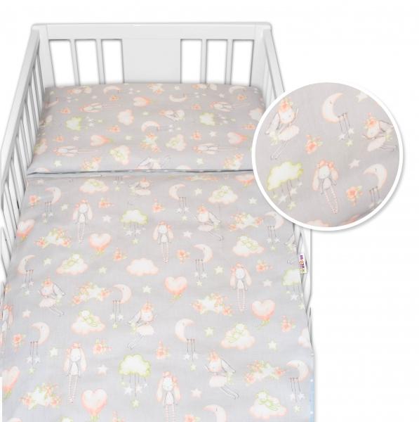 2-dielne bavlnené obliečky Baby Nellys Zajačik - sivé, 120x90 cm