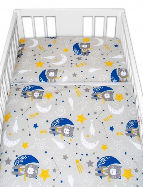 Baby Nellys Bavlnené obliečky - Medvedík a hviezdy, sivé, 120x90 cm
