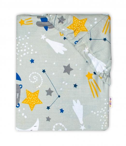 Baby Nellys Bavlnené prestieradlo - Medvedík a hviezdy, sivé, 140x70 cm