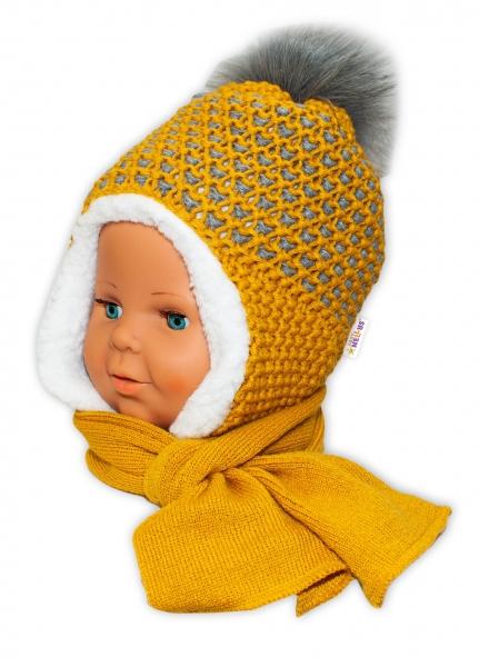BABY NELLYS Zimná čiapočka s kožušinkou a šálom - horčicová, veľ. 6-24 m