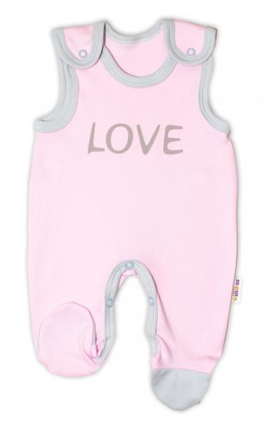 Dojčenské bavlnené dupačky Baby Nellys, Love - ružové-50 (0-1m)