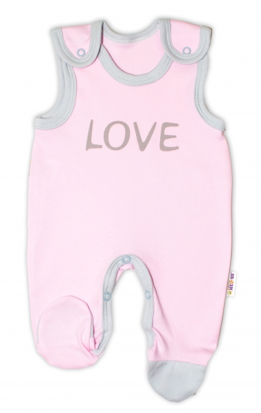Dojčenské bavlnené dupačky Baby Nellys, Love - ružové, veľ. 68-#Velikost koj. oblečení;68 (4-6m)