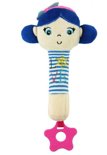 BABY MIX Edukačná hračka pískacia s hryzátkom Námorník - Dievčatko/ružová