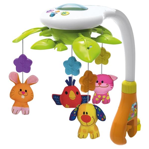 Kolotoč nad postieľku Smily Play so svetelným projektorom - Zvieratka
