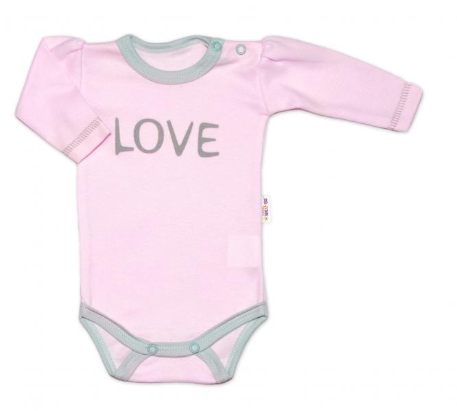 Baby Nellys Body dlhý rukáv Love - ružové, veľ. 56-56 (1-2m)