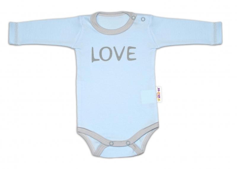 Kojenecké  Body dlhý rukáv Love - modré, vel. 56