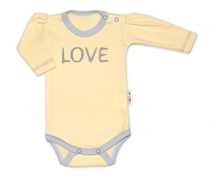 Baby Nellys Body dlhý rukáv Love - žltý, veľ. 56-56 (1-2m)