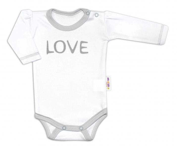 Baby Nellys Body dlhý rukáv Love - biely, veľ. 56-56 (1-2m)