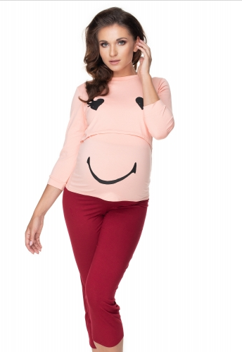 Be Maamaa Tehotenské, dojčiace pyžamo 3/4 s dl. rukávom -  růžovo/bordo-#Velikosti těh. moda;S/M