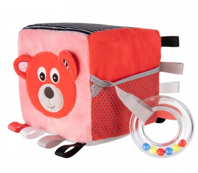 Canpol babies Plyšová edukačné kocka Medvedík - korálová