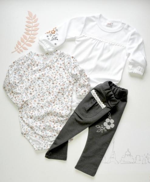 K-Baby Sada 2 x body dl. rukáv + 1 x tepláčky, Lúka, biela / kvetinky / sivá, veľ. 68