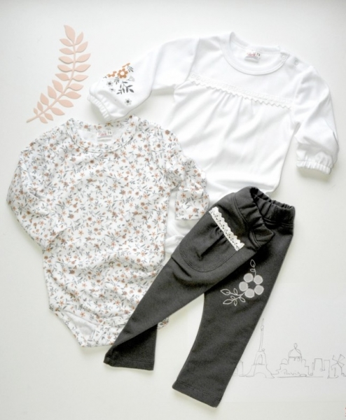 K-Baby Sada 2 x body dl. rukáv + 1 x tepláčky, Lúka, biela / kvetinky / sivá, veľ. 80-80 (9-12m)