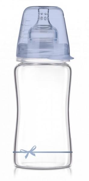 LOVI Sklenená fľaštička 250 ml Diamond Glass - mašlička -modrá