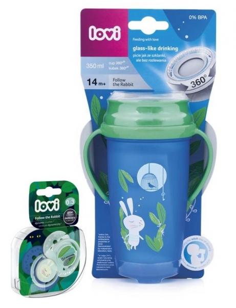 Kúzelný hrnček 360 ° LOVI 14+, modro/zelený- králiček , 350ml + sada 2ks cumlíkov