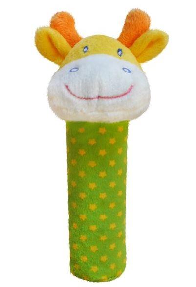 BOBA BABY Edukačná plyšová hračka pískacia - žirafka