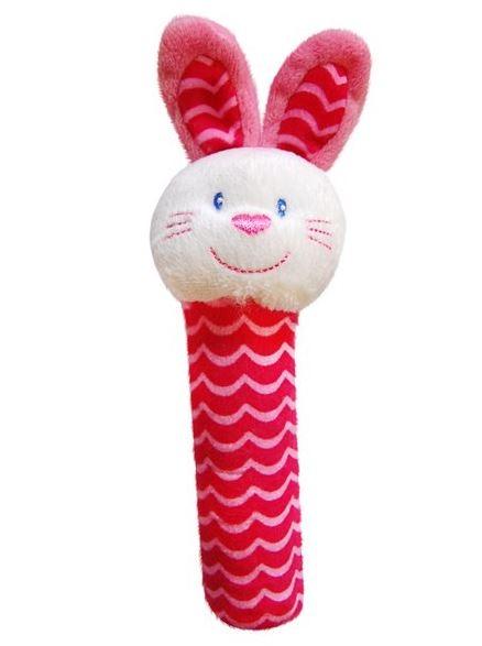 BOBA BABY Edukačná plyšová hračka pískacia - zajačik, 1 ks
