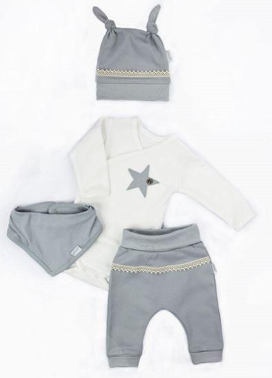 NICOL Sviatočný komplet oblečenie STAR - 4 dielny, sivý, veľ. 68
