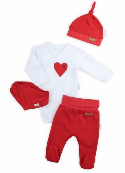 NICOL Sviatočný komplet oblečenie LOVE - 4 dielny, červený, veľ. 68