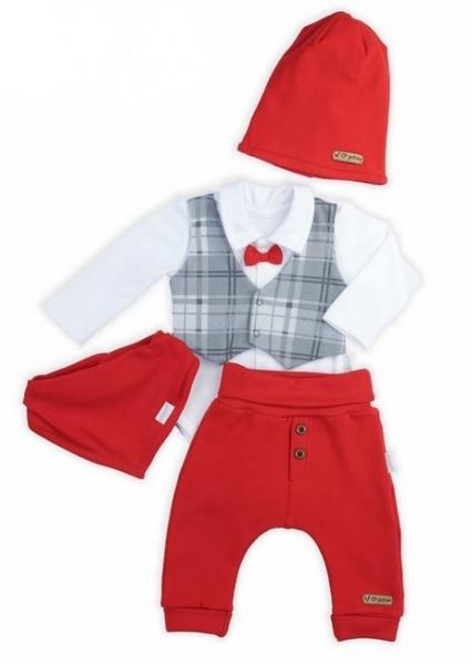 NICOL Sviatočný komplet oblečenie FOR BOY - 4 dielny, červený, veľ. 74