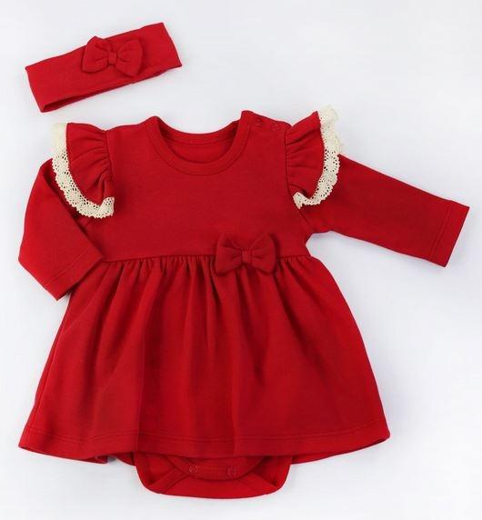 NICOL Sviatočné Šatičky-body s čelenkou LOVE - červená