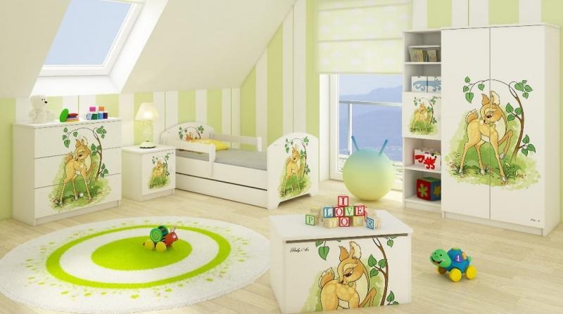 Babyboo Detská posteľ  LUX s motívom Bambi, 140 x 70 cm + šuflík