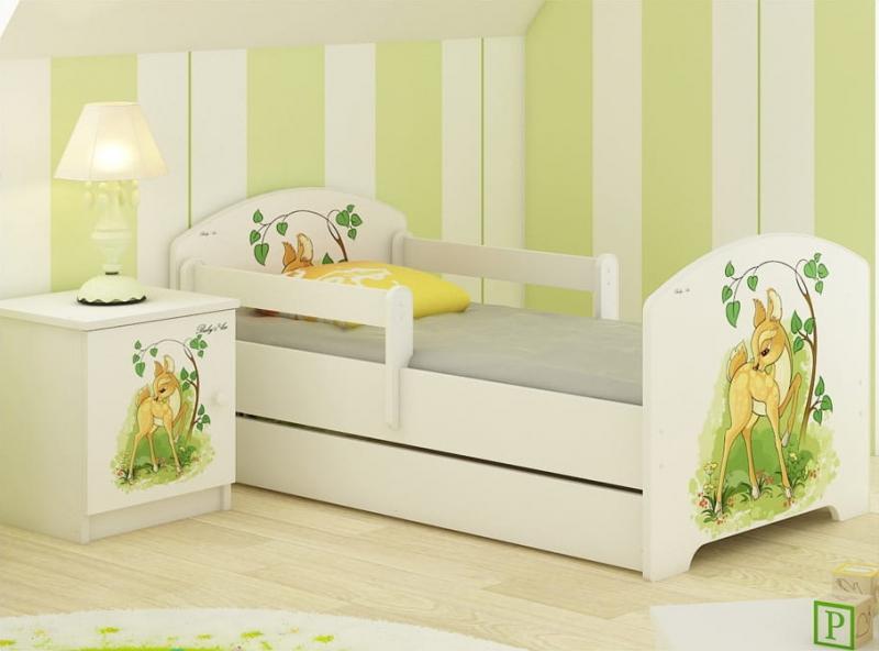 Babyboo Detská posteľ  LUX s motívom Bambi, 160 x 80 cm + šuflík