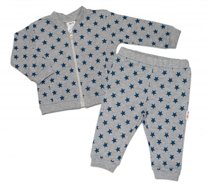Bavlnená tepláková súprava Baby Nellys ® - Hviezdy tm. modrá/sivá