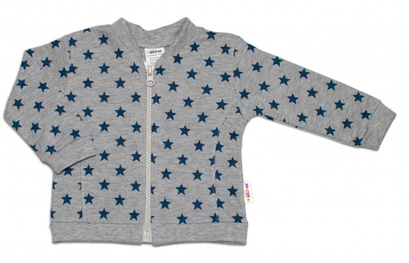 Bavlnená tepláková súprava Baby Nellys ® - Hviezdy tm. modrá/sivá, veľ 56