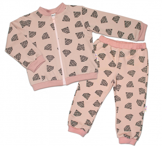 Bavlnená tepláková súprava Baby Nellys ® - Diamant, pudrová, veľ. 74-#Velikost koj. oblečení;74 (6-9m)