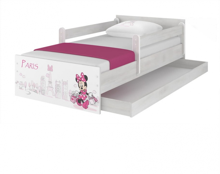 BabyBoo Detská postel Disney - MAX Miniie Paris - biela s matracom, 160x80 cm
