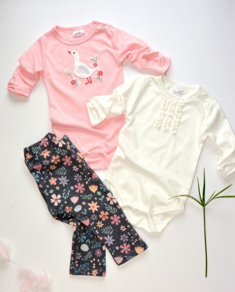 K-Baby 3 dielna sada - 2 ks body, legíny Húsatko - ružová, smotanová, jeans, veľ. 62
