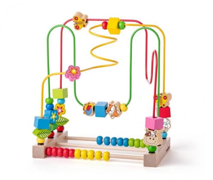 Woody Edukačná drevená hračka, labyrint - Lúka