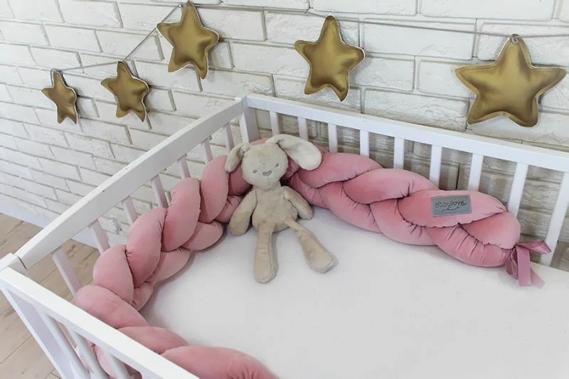 Mantinel Baby Nellys pletený vrkoč velvet - staroružová