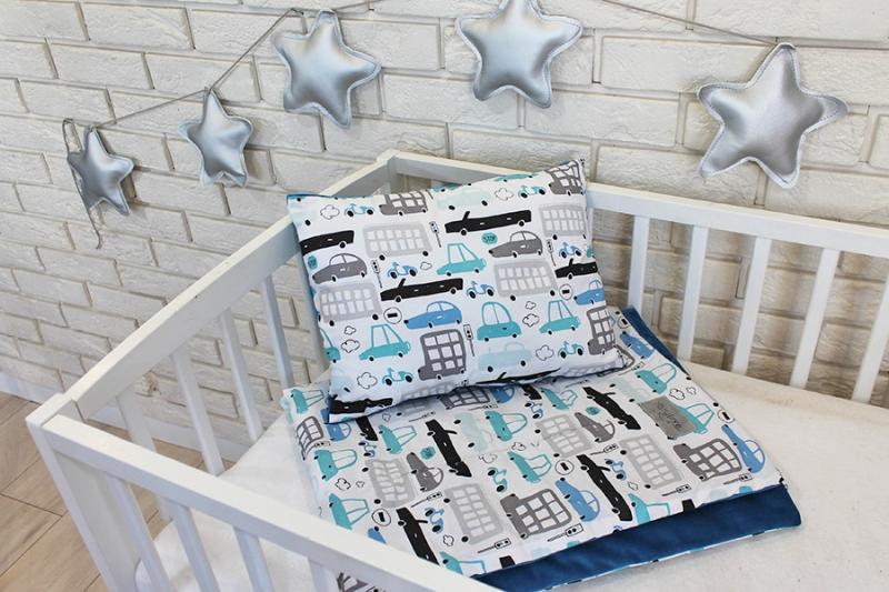 Baby Nellys 2-dielna súprava do postieľky Velvet modrý, autíčka