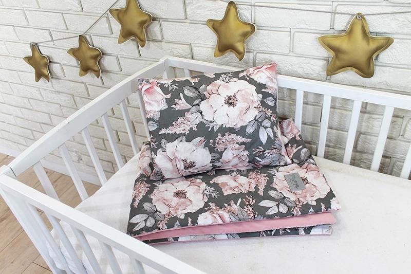 Baby Nellys 2-dielna súprava do postieľky Velvet růžový, divoke ruže
