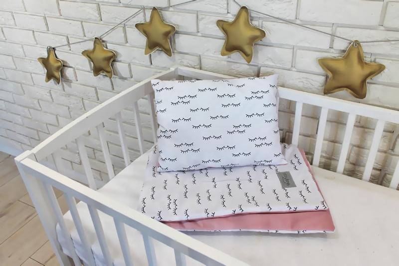 Baby Nellys 2-dielna súprava do postieľky Velvet růžový, spiace očká