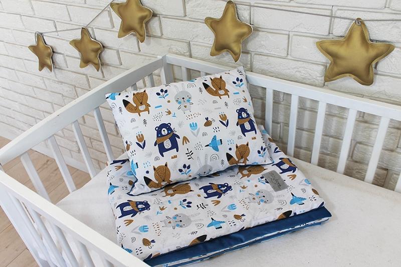 Baby Nellys 2-dielna súprava do postieľky Velvet modrý, lesné zvieratká
