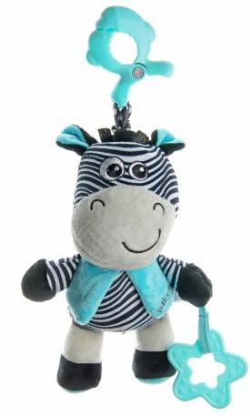 Baby Mix Plyšová závesná hračka Zebra s melódiou - modrá