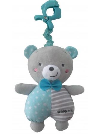 Baby Mix Plyšová závesná hračka s melódiou Medvedík - modrá