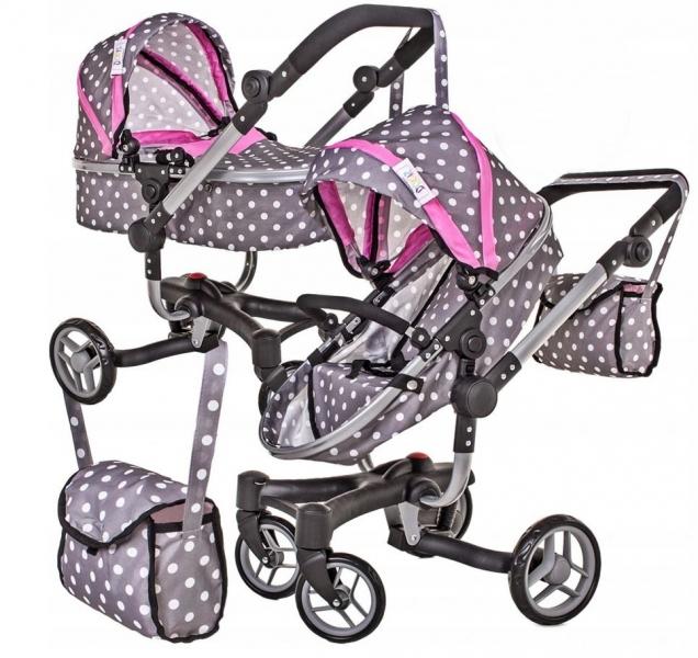 Moderný kočík pre bábiky 2 v 1 - ružovo, šedý, bodky