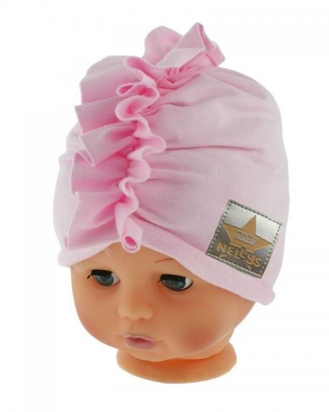 Baby Nellys Jarná/jesenná bavlnená čiapka - turban, sv. ružová