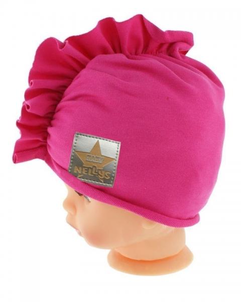 Baby Nellys Jarná/jesenná bavlnená čiapka - turban, tm. ružová