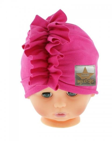 Baby Nellys Jarná/jesenná bavlnená čiapka - turban, tm. ružová, obvod: 44-48 cm