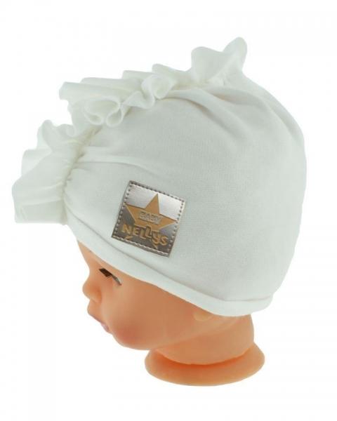 Baby Nellys Jarná/jesenná bavlnená čiapka - turban, biela