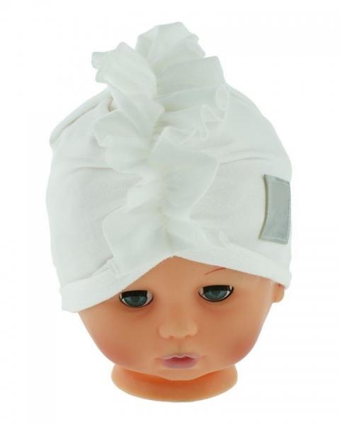 Baby Nellys Jarná/jesenná bavlnená čiapka - turban, biela, obvod: 44-48 cm